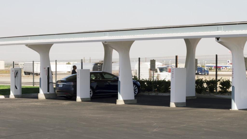 Tesla Supercharger station Photo courtesy of Tesla