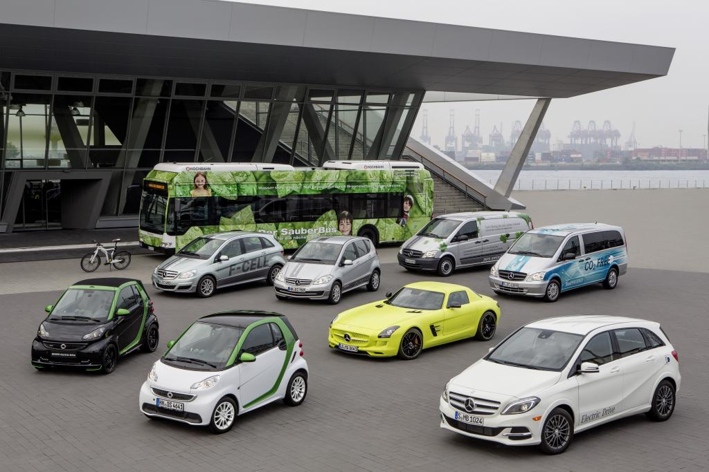 Mercedes-Benz and smart: market leader with the widest range of locally emission-free vehicles on the road. Photo courtesy of Daimler