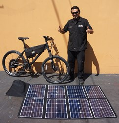 Antonio Contreras and his Solar Powered HPC HT-1 Electric Bike. Photo courtesy of Hi-Power Cycles