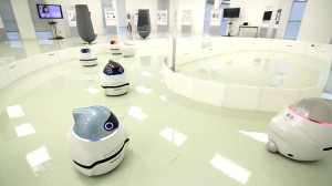 SUNNYVALE, Calif. (Feb. 21, 2013) – Seven small robots could help change the fundamental way we get around forever.  These little chick-like creatures made by Nissan Motor Company are called EPOROs - or zero emission robot car concepts. Photo courtesy of Nissan