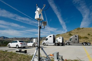 NREL's Vehicle Testing and Integration Facility test pad features an on-site weather station to provide accurate data on local meteorological conditions.  Photo by Dennis Schroeder, NREL Courtesy of NREL