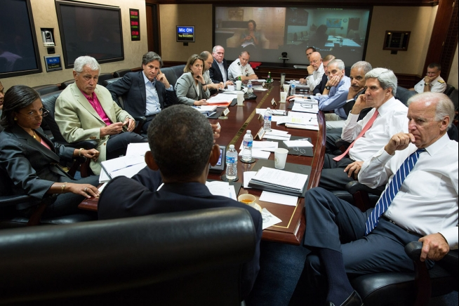 President Barack Obama meets in the Situation Room with his national security advisors to discuss strategy in Syria, Saturday, Aug. 31, 2013. (Official White House Photo by Pete Souza) Courtesy of the White House