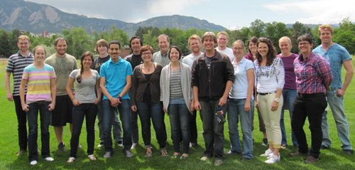 Professor Alan Weimer (back row, fifth from left) is shown with his 2013 CU-Boulder research group that involves postdoctoral researchers, research professionals, graduate students and undergraduates who make up the largest academic solar-thermal chemistry team in United States. (Image courtesy University of Colorado)