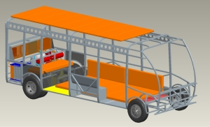 Modular batteries (orange) can be integrated easily in the free space of the vehicle. (Figure: KIT) Image courtesy of Karlsruhe Institute of Technology