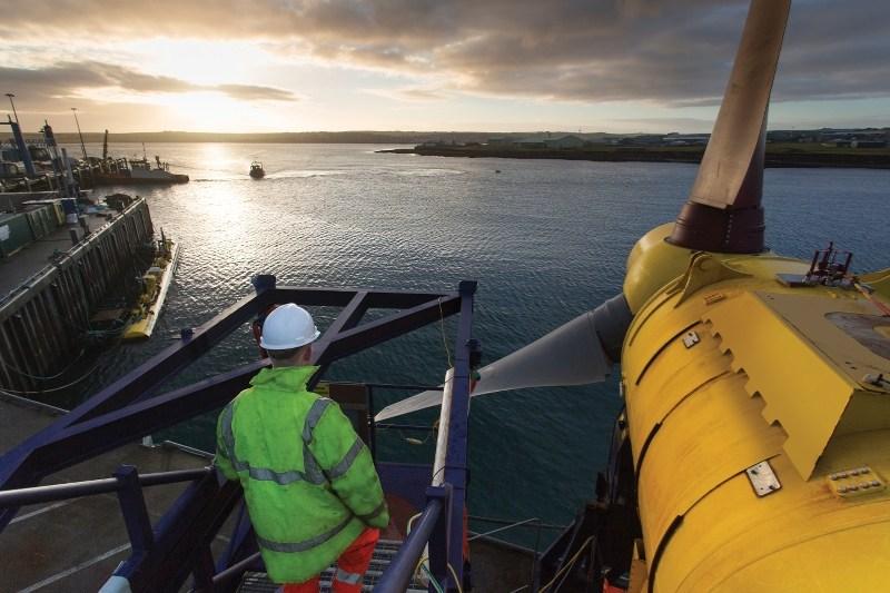 Ocean Tidal turbine installation in Orkney, Scotland Photo courtesy of Alstom