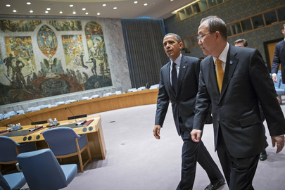 (24 September 2013) Secretary-General Secretary-General Ban Ki-moon (right) and Barack Obama, President of the United States, are seen walking through the Security Council Chamber en route to their meeting.  UN Photo/Rick Bajornas  Courtesy of United Nations