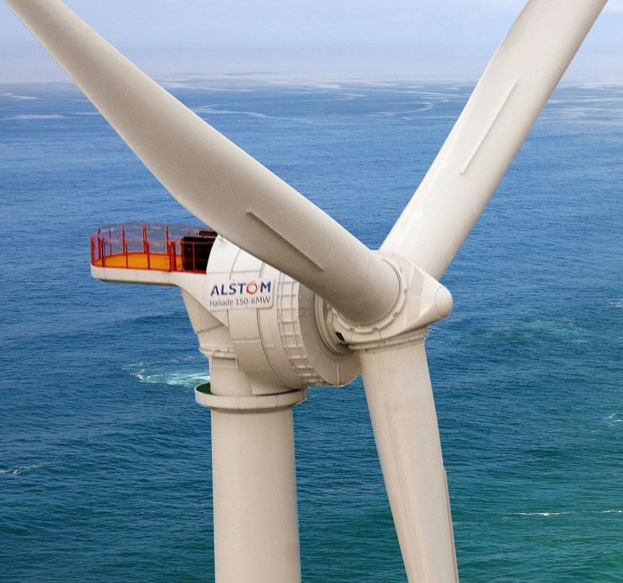 Offshore wind turbine Haliade 150 6MW, photo courtesy of Alstom