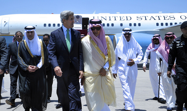 U.S. Secretary of State John Kerry walks with Saudi Foreign Minister Prince Saud al-Faisal upon his arrival in Jeddah, Saudi Arabia, on June 25, 2013. Photo courtesy of State Department
