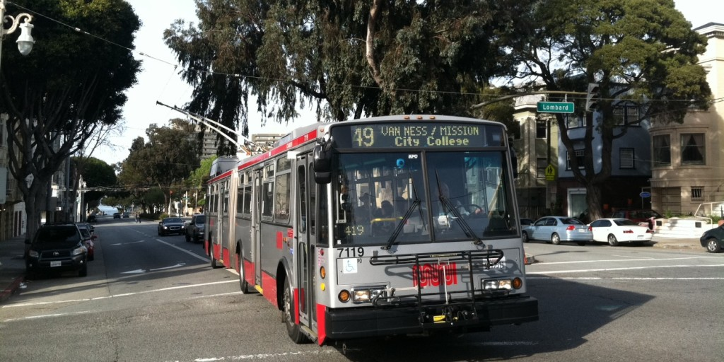 """The 49 All-electric Trolley Bus splits the City, running on the south-north axis. """"With 52 percent of its bus and rail fleet composed of zero-emission vehicles, Muni accounts for 17 percent of all trips made in San Francisco, but only 1 percent of total citywide greenhouse gas emissions."""" - SFMTA 2013 Annual Report"""