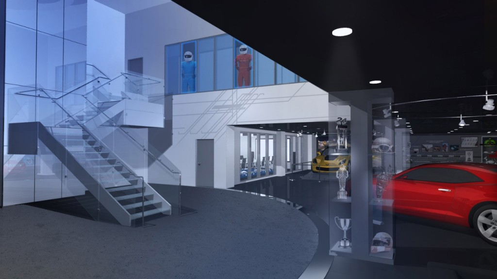 Rendering of the interior of the new General Motors Performance Racing Center. Construction began for the facility that will centralize talent and create opportunities for GM racing and production engineering in Pontiac, Mich. Image courtesy of GM