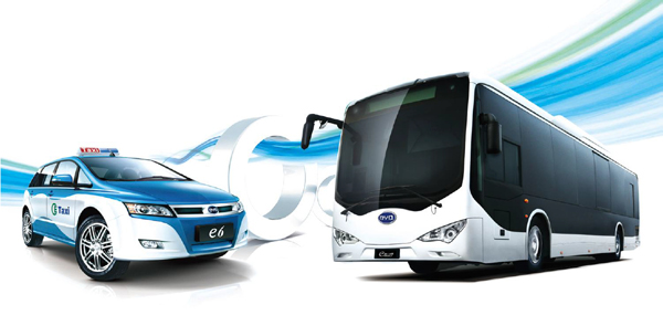 Pictured Above: The pure-electric BYD e6 Taxi and k9 Transit Bus Courtesy of BYD