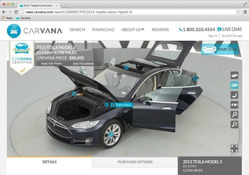 2013 Tesla Model S on Carvana.com   Image courtesy of Carvana