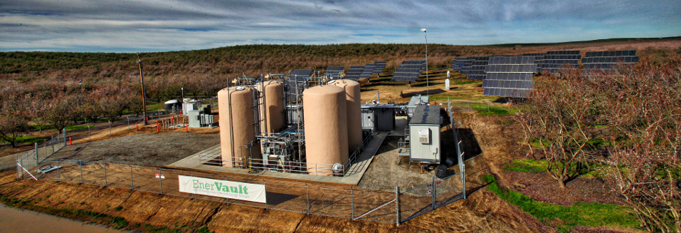 This EnerVault flow battery stores power from the solar panels and releases it as needed.  Photo courtesy of EnerVault