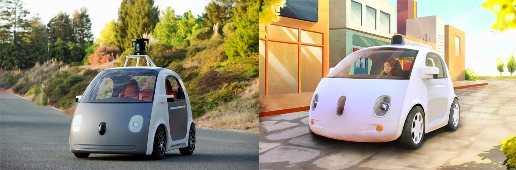 A very early version of our prototype vehicle, and an artistic rendering of our vehicle Images courtesy of Google