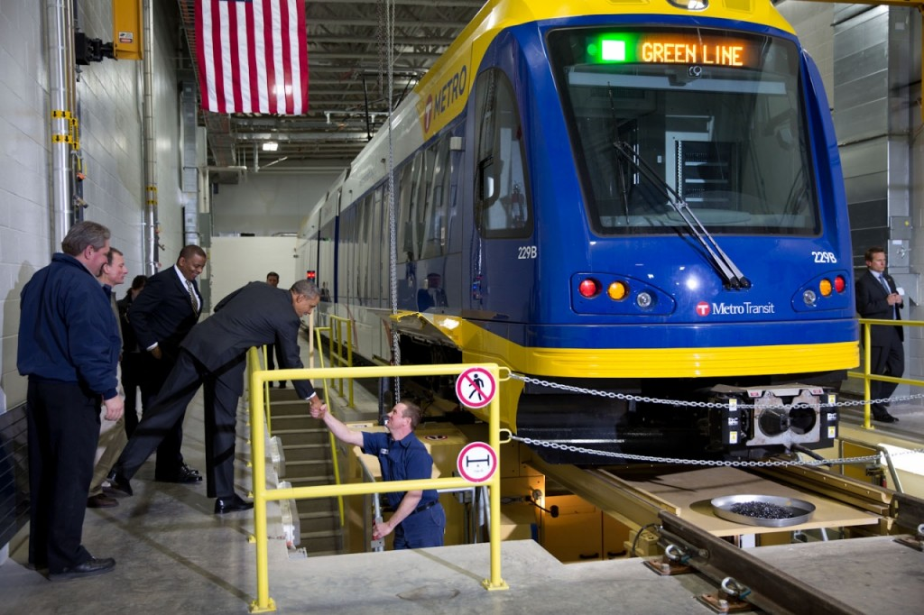 President Obama and Transportation Secretary Foxx see new Green Line light rail vehicles while visiting St. Paul's Union Depot. Courtesy of USDOT