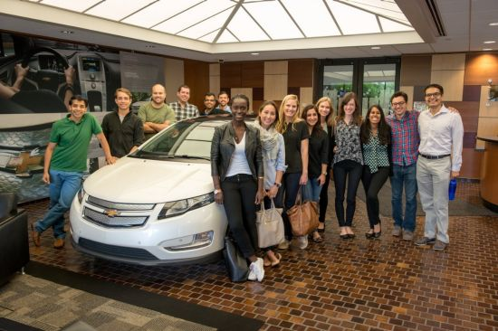 Eight MBA teams from Babson, Columbia, Harvard, University of Michigan, University of California-Berkeley and Stanford visit the General Motors Detroit-Hamtramck Assembly plant - home of the Chevrolet Volt - Wednesday, July 23, 2014 in Detroit, Michigan. Sponsored by Chevrolet, the MBAs Across America teams will help more than 35 businesses nationwide, traveling in a fleet of 4G LTE Chevrolet Volts. (Photo by Steve Fecht for Chevrolet) Courtesy of GM