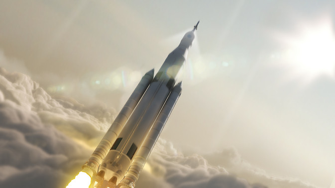 Artist concept of NASA's Space Launch System (SLS) 70-metric-ton configuration launching to space. SLS will be the most powerful rocket ever built for deep space missions, including to an asteroid and ultimately to Mars.  Image credit: NASA/MSFC Courtesy of NASA