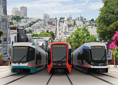In the picture: 3 Siemens-proposed designs, one of which will be chosen by the SFMTA following public input.