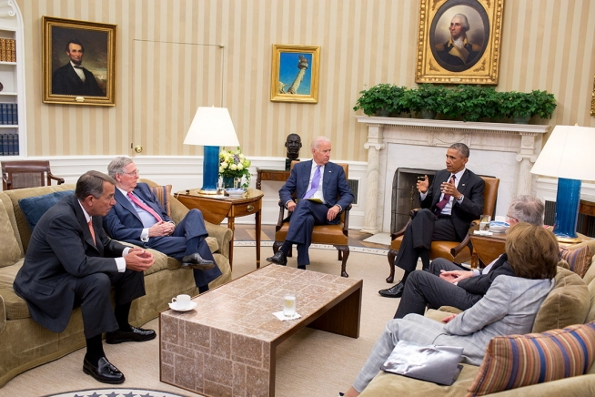 President Barack Obama and Vice President Joe Biden meet with bicameral leadership of Congress regarding foreign policy, in the Oval Office, Sept. 9, 2014. Participants include: Senate Majority Leader Harry Reid, D-Nev., Senate Minority Leader Mitch McConnell, R-Ky., House Speaker John Boehner, R-Ohio and Democratic Minority Leader Nancy Pelosi, D-Calif.  Official White House Photo by Pete Souza