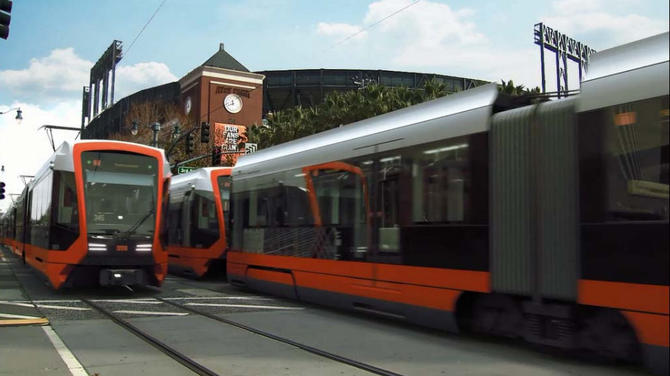 Image of Siemens overhead wire streetcars for SF, start late 2016 Image courtesy of SFMTA Nanjing, China, recently initiated service of modern battery (Li-ion) powered streetcars by Bombardier.