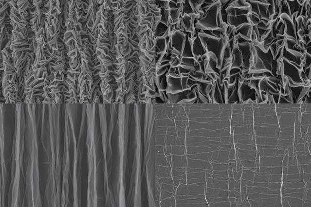 To form the crumpled graphene, a sheet of polymer material is stretched in both dimensions, then graphene paper is bonded to it. When the polymer is released in one direction, the graphene forms pleats, as shown in the bottom images, taken with a scanning electron microscope (SEM). Then, when released in the other direction, it forms a chaotic crumpled pattern (top images). The right pair of SEM images shows the material at higher magnification than the left-hand images.  Image courtesy of the researchers (MIT)